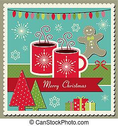 chocolate quente, cartão natal