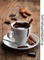 chocolate quente, com, canela