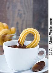 chocolate quente, com, churros