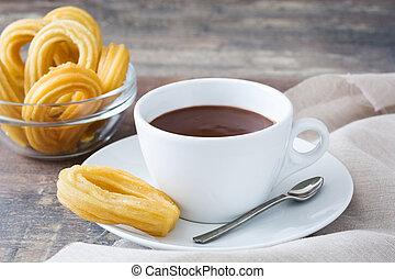 chocolate quente, com, churros., espanhol