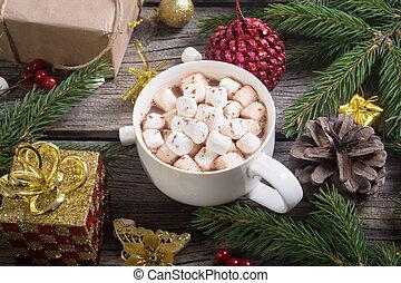 chocolate quente, com, marshmallow