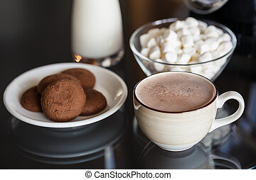 chocolate quente, com, marshmallow