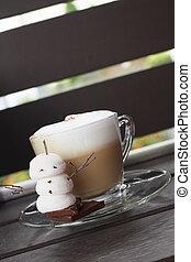 chocolate quente, com, marshmallow, para, natal