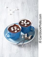chocolate quente, com, mini, marshmallows