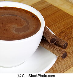 chocolate quente, copo, fim