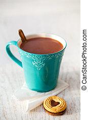 chocolate quente, e, biscoito