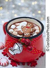 chocolate quente, e, marshmallows