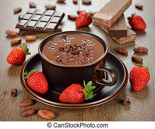 chocolate quente, e, moranguinho