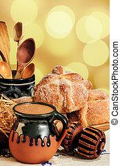 chocolate quente, e, pão doce, panela muerto
