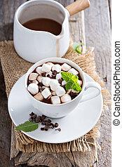 chocolate quente, em, um, copo