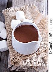 chocolate quente, em, um, pote