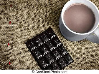 chocolate quente, ligado, tabela
