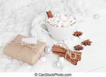 chocolate quente, ligado, um, branca, tabela