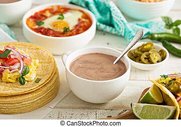 chocolate quente mexicano, ligado, um, tabela pequeno almoço