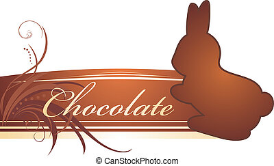 Chocolate rabbit. Banner. Vector illustration