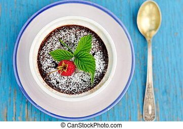 Chocolate raspberry pudding