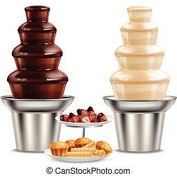 chocolate, realístico, pretas, chafariz, branca, composição