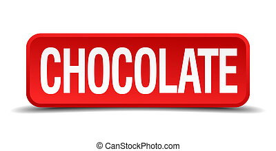 chocolate red 3d square button on white background