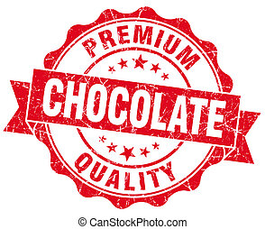 Chocolate red vintage seal isolated on white