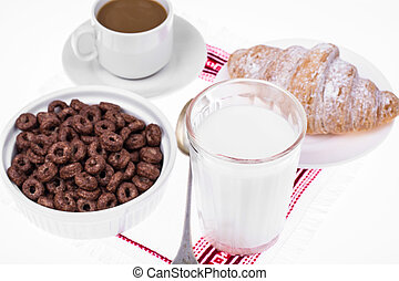 Chocolate ringlets with milk for breakfast