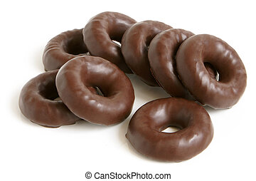 Chocolate rings on a white background