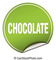 chocolate round green sticker isolated on white