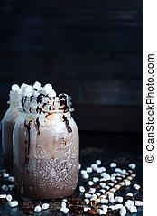 chocolate sacudode, com, gotejando, molho