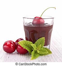 chocolate sauce and cherry