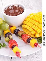 chocolate sauce and fruits