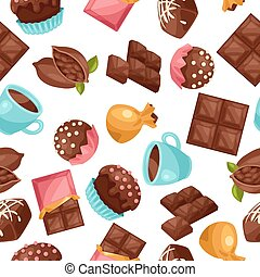 Chocolate seamless pattern with various tasty sweets and...