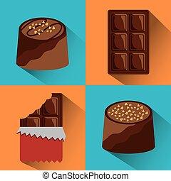 chocolate set icons cocoa food sweet