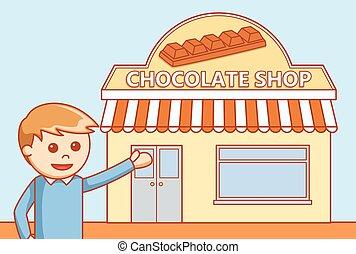 Chocolate shop  doodle illustration