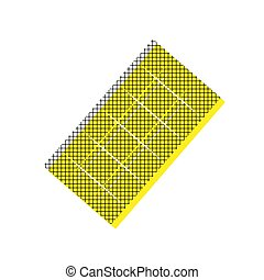 Chocolate sign. Vector. Yellow icon with square pattern duplicat