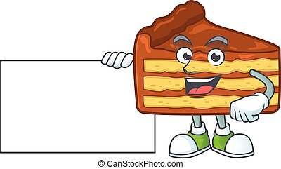 Chocolate slice cake cartoon character concept Thumbs up having a white board