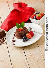 chocolate, sobremesa, com, bagas