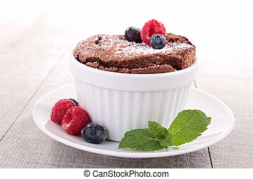 chocolate souffle and fruits