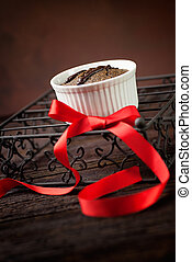 Chocolate souffle - Chocolate cake. Souffle with red ribbot...