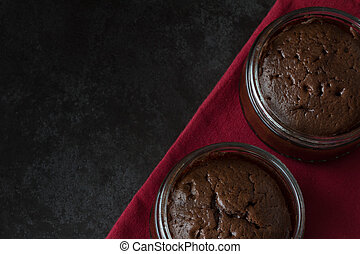 Chocolate Souffle Dark Background Above