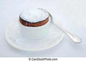 chocolate souffle - dark chocolate souffle served as a...