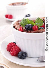 chocolate souffle with berries fruits