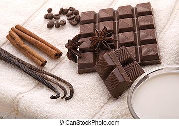 chocolate spa - sensuality spa. chocolate, milk and spices -...