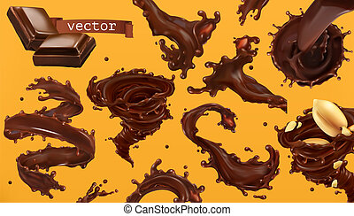 Chocolate splash. 3d realistic vector icon set