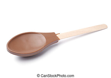 Chocolate spoon on white background