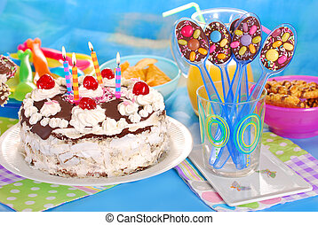 chocolate spoons and torte for birthday party - chocolate...