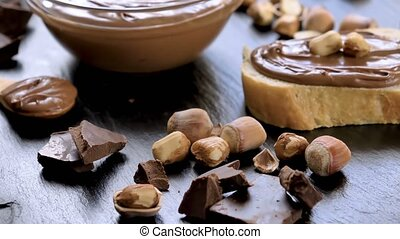 Chocolate spread cream in glass bowl
