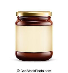 Chocolate spread in jar on white background. Vector ...
