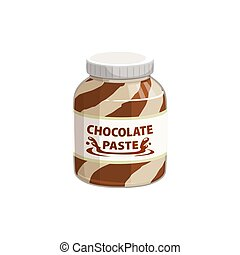 Chocolate spread in jar, cream of hazelnut, cocoa and nougat duo butter paste, vector icon. Chocolate spread or cocoa caramel and hazelnut nougat butter, breakfast food confection and sweet dessert