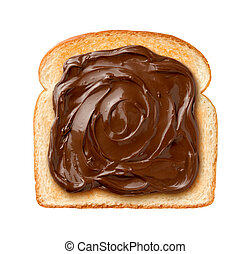 Chocolate Spread on Toast - Aerial view of Chocolate Spread...