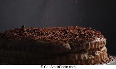 Chocolate sprinkling on cake - Chocolate sprinkling on ...