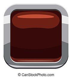 Chocolate square button icon, cartoon style